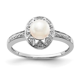 Sterling Silver Rhodium-plated Diam. & FW Cultured Pearl Ring