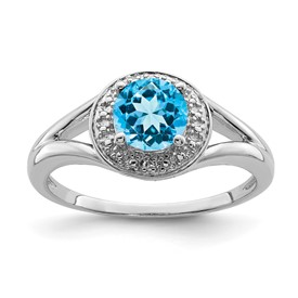Sterling Silver Rhodium-plated Diam. & Blue Topaz Ring