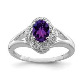 Sterling Silver Rhodium-plated Diam. & Amethyst Ring