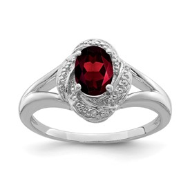 Sterling Silver Rhodium-plated Diam. & Garnet Ring