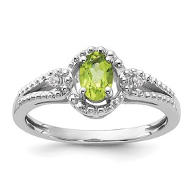 Sterling Silver Rhodium-plated Peridot & Diam. Ring