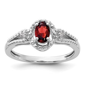 Sterling Silver Rhodium-plated Garnet & Diam. Ring