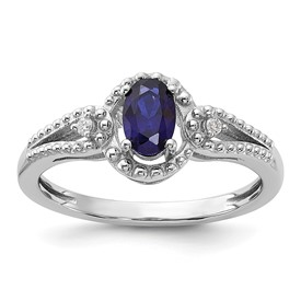 Sterling Silver Rhodium-plated Created Sapphire & Diam. Ring