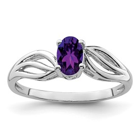 Sterling Silver Rhodium-plated Amethyst Ring