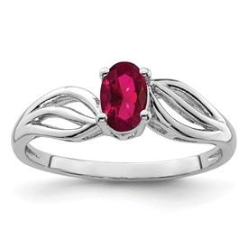 Sterling Silver Rhodium-plated Created Ruby Ring
