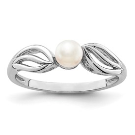 Sterling Silver Rhodium-plated FW Cultured Pearl Ring