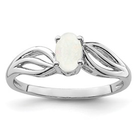 Sterling Silver Rhodium-plated Created Opal Ring