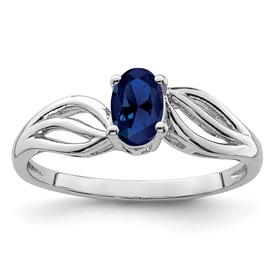 Sterling Silver Rhodium-plated Created Sapphire Ring