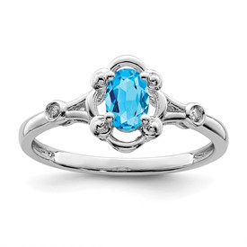 Sterling Silver Rhodium-plated Light Swiss Blue Topaz & Diam. Ring