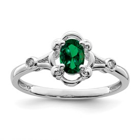 Sterling Silver Rhodium-plated Created Emerald & Diam. Ring