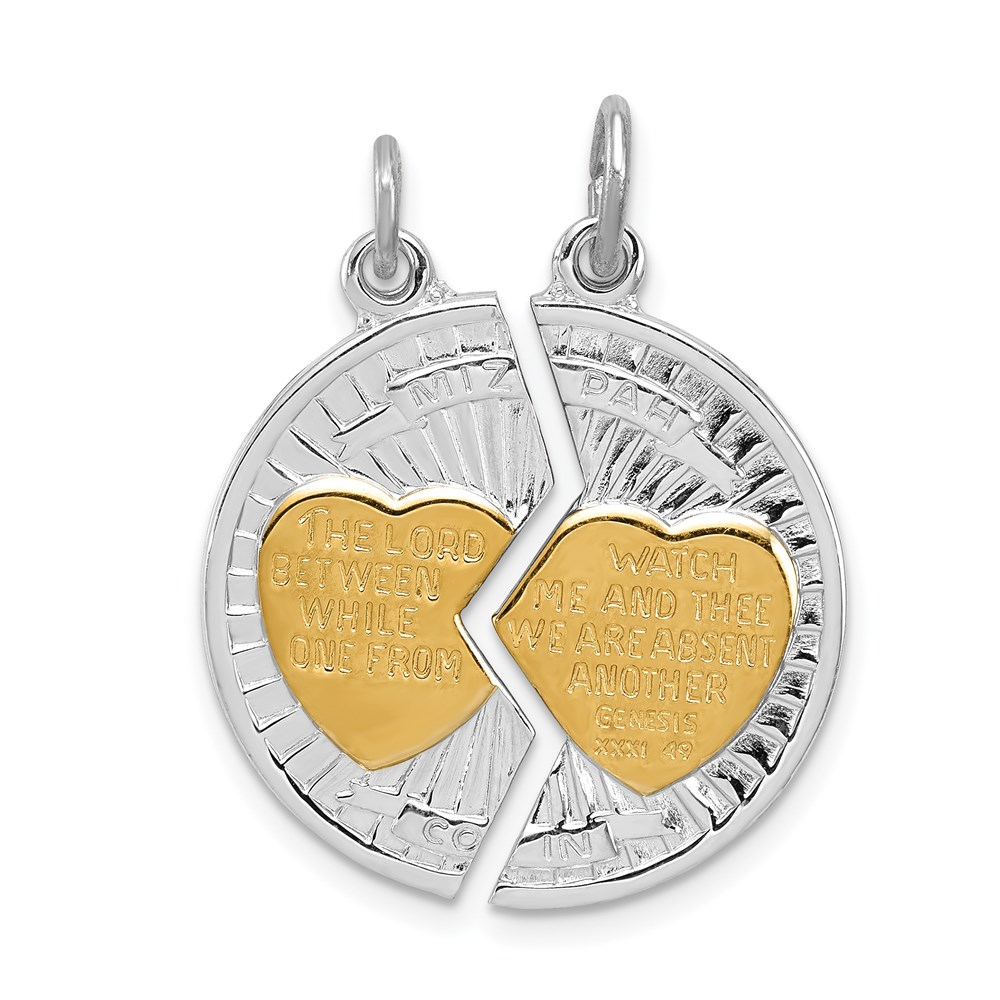 Roy Rose Jewelry Sterling Silver & Gold Plated Polished Mizpah 2-piece Pendant