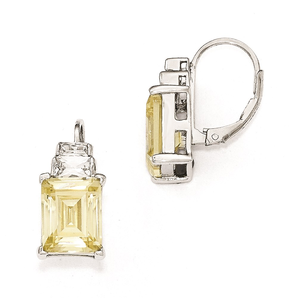 Vishal Jewelry Cheryl M Sterling Silver Yellow and White CZ Leverback Earrings
