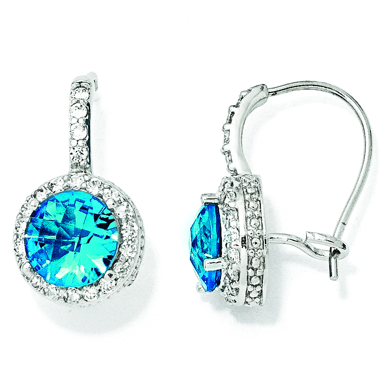 Cheryl M SS Checker-cut Glass Sim.Blue Topaz & CZ Kidney Wire Earrings