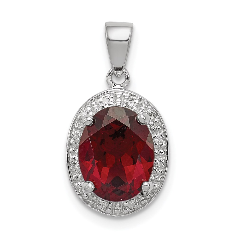Jewelry Brothers Sterling Silver Rhodium Garnet & Diamond Pendant at Sears.com