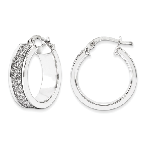 QGC Sterling Silver Fancy Glitter Infused Round Hoop Earrings