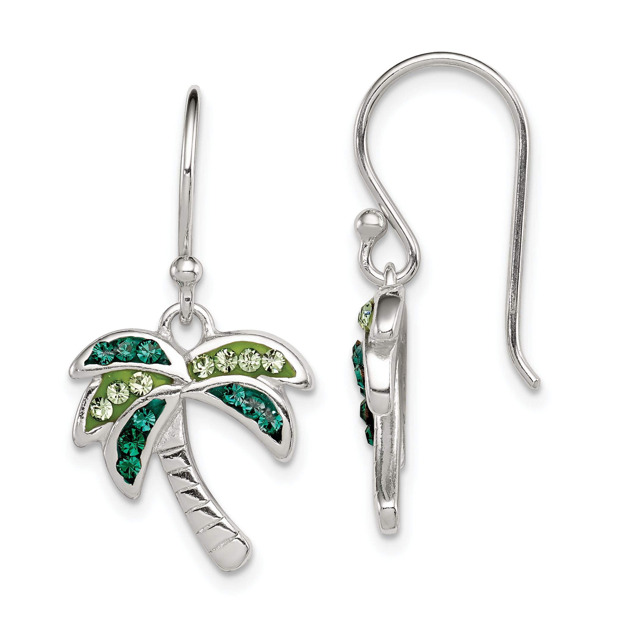 Core Silver Sterling Silver Light/Dark Green Crystal Palm Tree Earrings