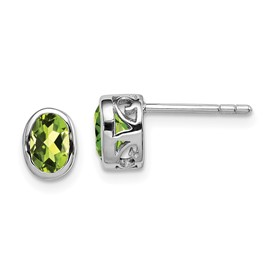Sterling Silver Rhodium-plated Polished Peridot Oval Post Earrings