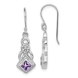 Sterling Silver Rhodium-plated w/Amethyst Shepherd Hook Earrings