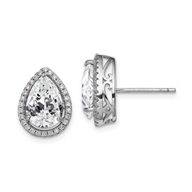 Sterling Silver Rhodium Created White Topaz & CZ Post Earrings