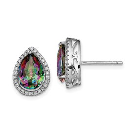 Sterling Silver Rhodium Polished  Mystic Topaz & CZ Post Earrings