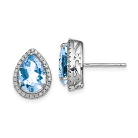 Sterling Silver Rhodium Created Aquamarine & CZ Post Earrings