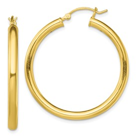 Sterling Silver Gold-Tone Polished Hoop Earrings