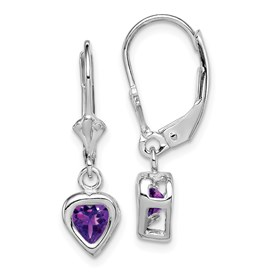 Sterling Silver Rhodium 5mm Heart Amethyst Leverback Earrings