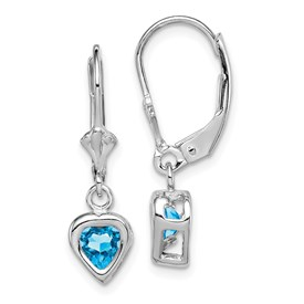 Sterling Silver Rhodium 5mm Heart Blue Topaz Leverback Earrings
