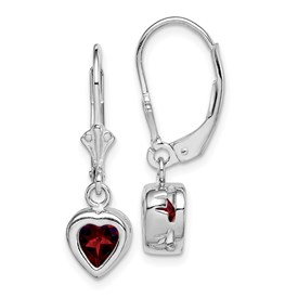 Sterling Silver Rhodium 6mm Heart Garnet Leverback Earrings