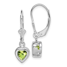 Sterling Silver Rhodium 6mm Heart Peridot Leverback Earrings