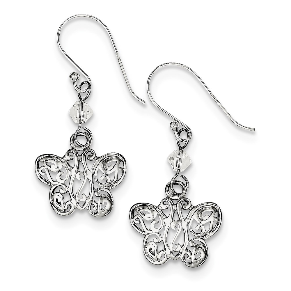 Vishal Jewelry Sterling Silver CZ and Filigree Butterfly Dangle Earrings