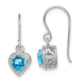 Sterling Silver Rhodium Blue Topaz Small Heart Earrings