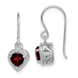 Sterling Silver Rhodium Garnet Small Heart Earrings