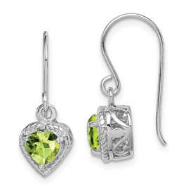 Sterling Silver Rhodium Peridot Small Heart Earrings