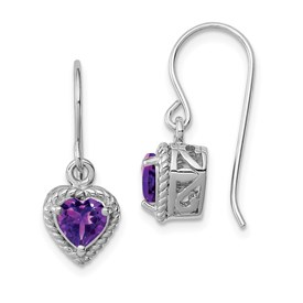 Sterling Silver Rhodium Amethyst Small Heart Earrings