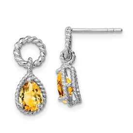 Sterling Silver Rhodium Citrine Pear Twisted Post Earrings