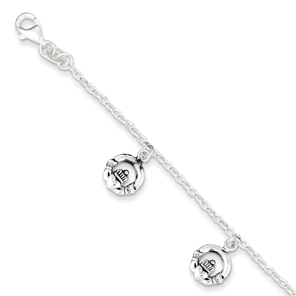 Roy Rose Jewelry Sterling Silver Antiqued Claddagh Bracelet