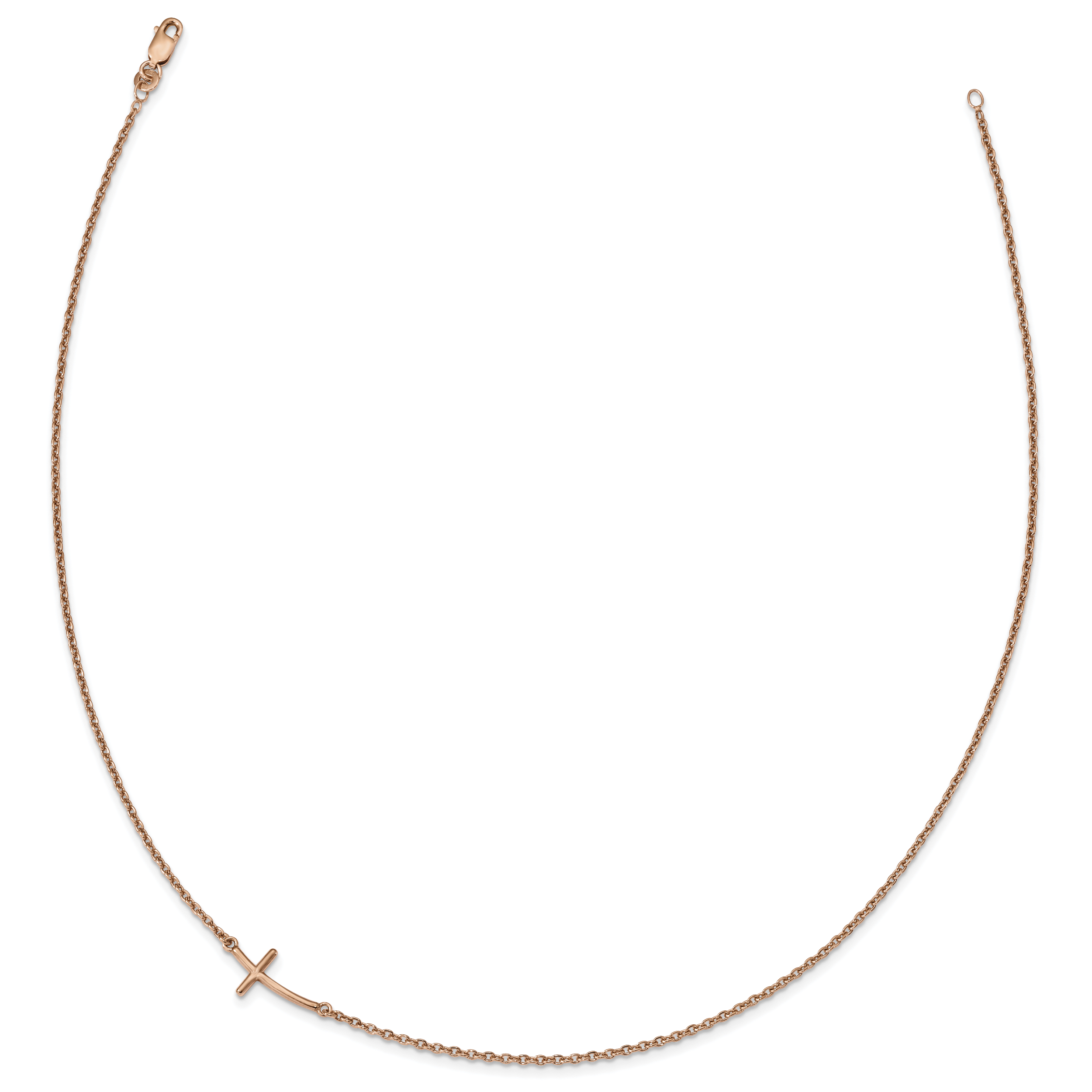 Sideways Curved Cross Necklace: Sterling Silver 18in Rose Gold-plated Small Sideways
