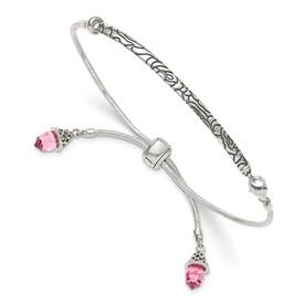 Sterling Silver Pink Swarovski Crystal Briolette Adjustable Bracelet