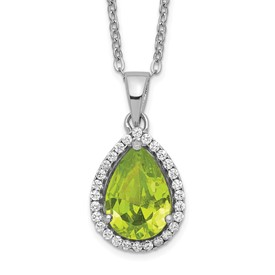 Sterling Silver Rhodium Polished Simulated Peridot & CZ Necklace