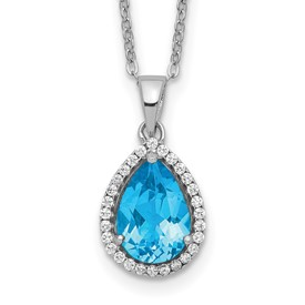 Sterling Silver Rhodium Polished Blue Topaz & CZ Necklace