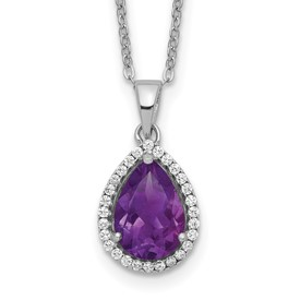 Sterling Silver Rhodium Polished Amethyst & CZ Necklace
