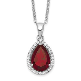Sterling Silver Rhodium Polished Garnet & CZ Necklace