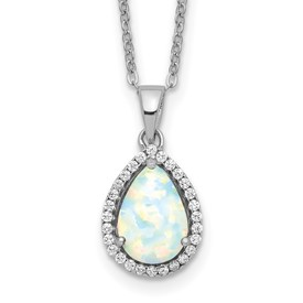 Sterling Silver Rhodium Polished Simulated Opal & CZ Necklace