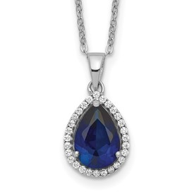 Sterling Silver Rhodium Created Sapphire & CZ Necklace