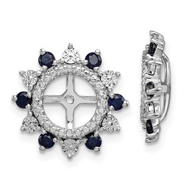 Sterling Silver Rhodium Created Sapphire Earring Jacket