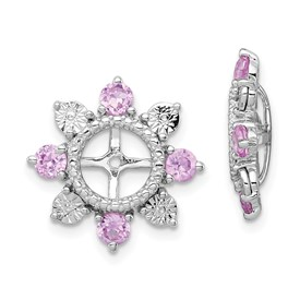 Sterling Silver Rhodium Created Pink Sapphire Earring Jacket