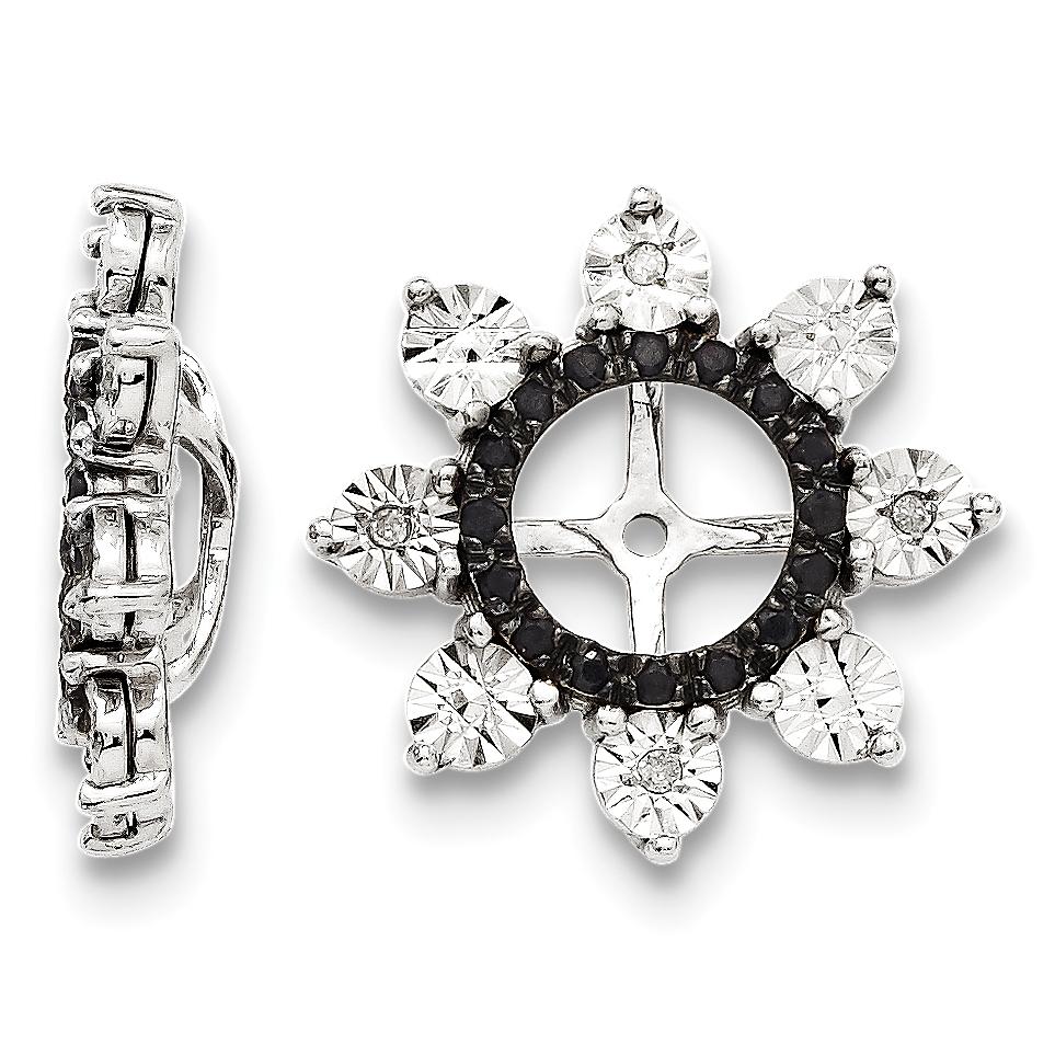 Earring Jackets Sterling Silver Diamond & Black Sapphire Earring Jacket