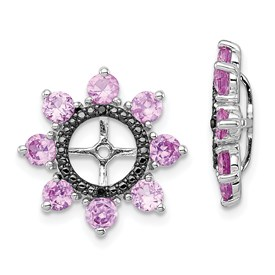 Sterling Silver Rhodium Created Pink Sapphire & Black Sapphire Earring Jack