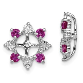 Sterling Silver Rhodium Diam. & Created Ruby Earring Jacket